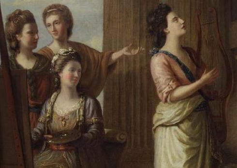 Detail-from-the-Nine-Living-Muses-of-Great-Britain-1799.-Barbauld-is-raising-her-hand.
